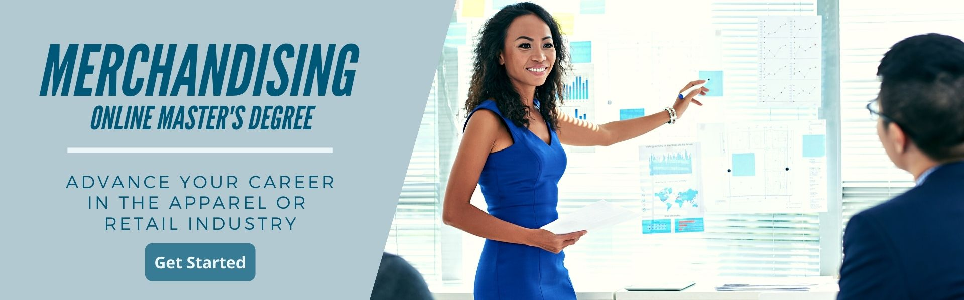 A professional woman presents in a corporate setting. An online merchandising master's degree or graduate certificate will advance your career in the apparel or retail industry.