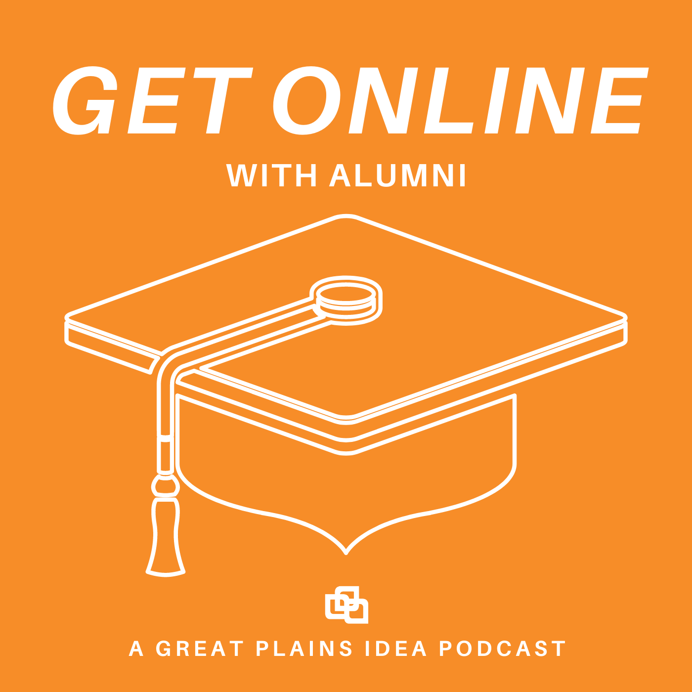 Orange logo with graduation cap that reads Get Online with Alumni