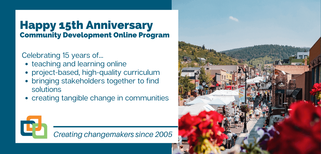 This graphic is celebrating the community development program's anniversary. For 15 years they've been teaching and learning online with project-based, high-quality curriculum, and creating tangible change in communities. There is a photo of a street fair in the mountains.