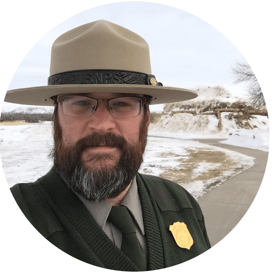 Andrew Carl on duty as a park ranger