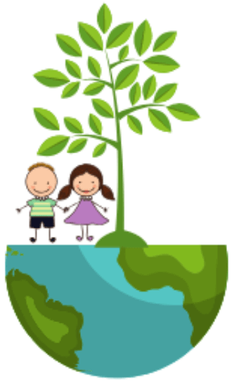 Drawing of a boy and girl under a tree