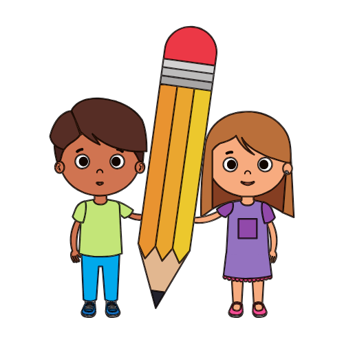 Cartoon drawing of a boy and girl holding an over-sized pencil