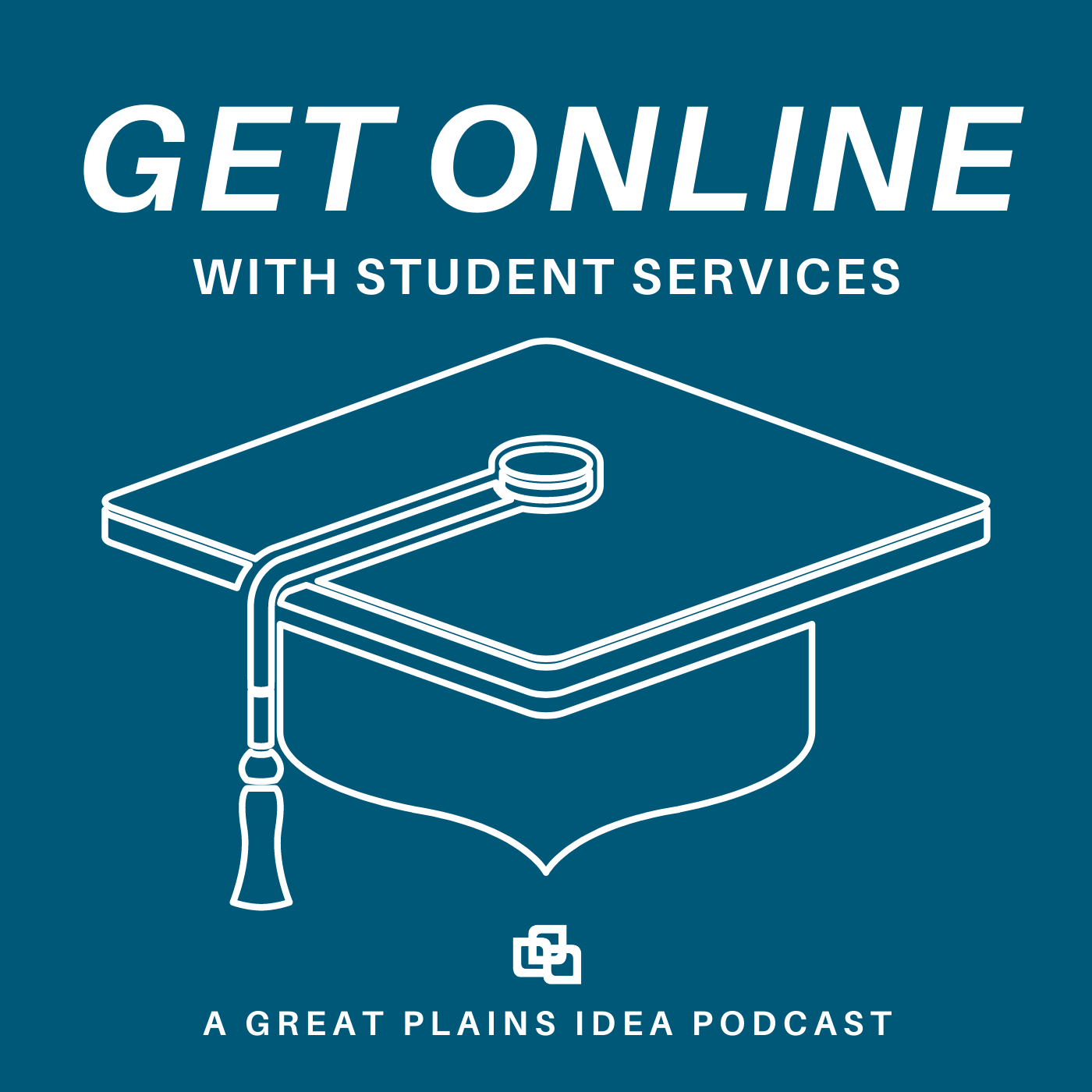 Blue logo with graduation cap that reads Get Online with Student Services