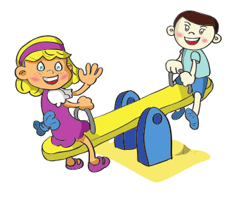 Cartoon drawing of a girl and boy smiling from a teeter totter