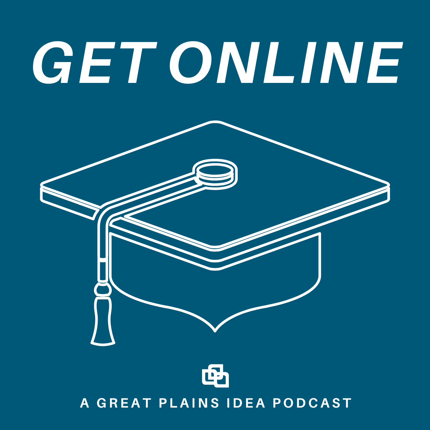 Podcast logo with graduation cap and title Get Online